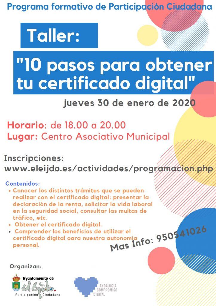 "Taller ""10 pasos para obtener tu certificado digital"" @ Centro Asociativo Municipal"